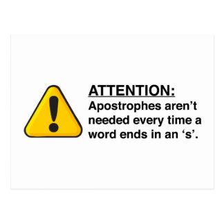 Proper Apostrophe Usage Card Postcard