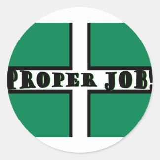 Proper Job - Devon Round Sticker