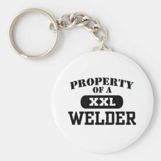 Property of a Welder Basic Round Button Key Ring