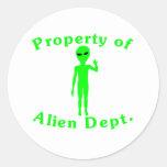 Property Of Alien Dept Sticker