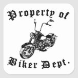 Property Of Biker Dept Motorcycle Square Stickers