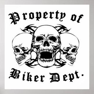 Property Of Biker Dept Skulls Posters