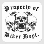Property Of Biker Dept Skulls Sticker