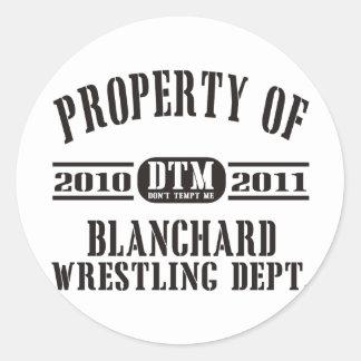 Property Of Blanchard Wrestling Round Sticker