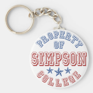 Property Of College Simpson Basic Round Button Key Ring