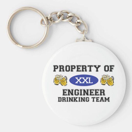 Property of Engineer Drinking Team Basic Round Button Key Ring