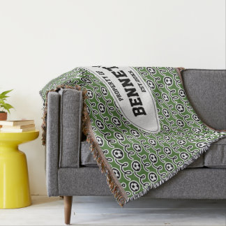 Property of family name soccer ball pattern sports throw blanket