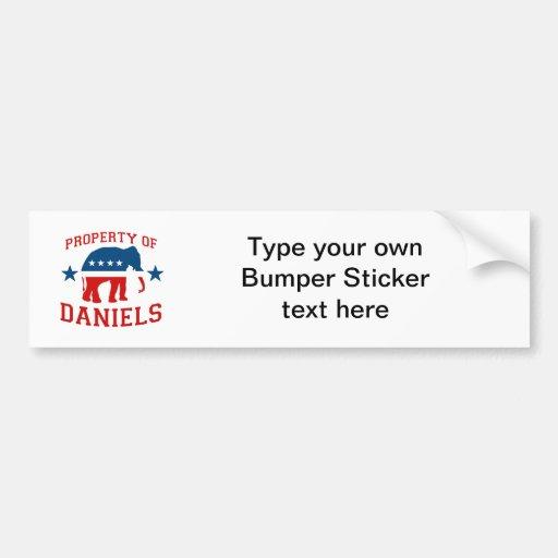 PROPERTY OF MITCH DANIELS BUMPER STICKERS