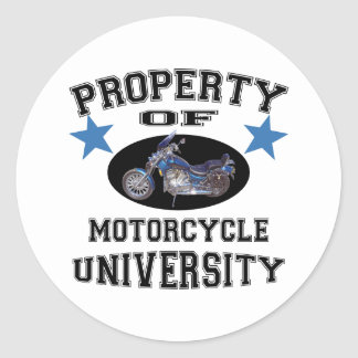 Property Of Motorcycle University Classic Round Sticker