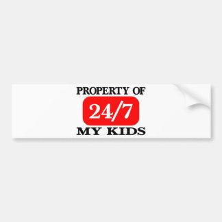 Property Of My Kids 24 7 Bumper Stickers