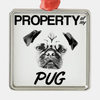 Property of my Pug Christmas Ornament
