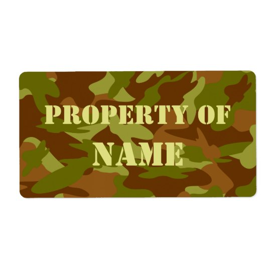 Property Of Name Label - Olive Drab Camo