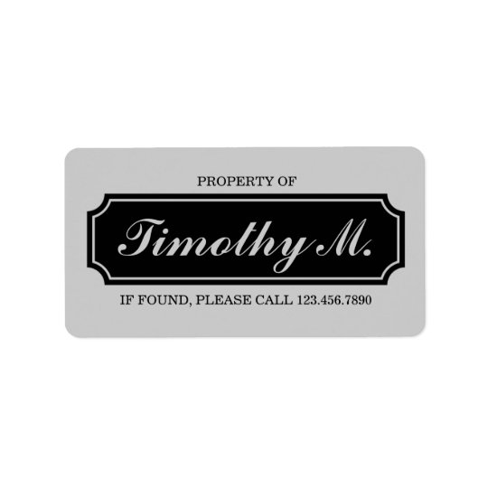 """""""Property Of"""" Name Plate Label, Black and Grey Address Label"""
