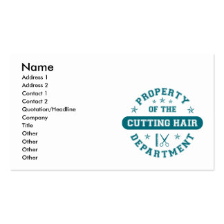 Property of the Cutting Hair Department Business Card Template