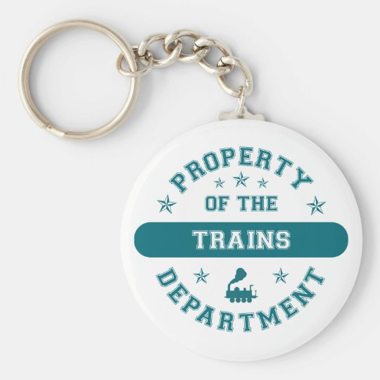 Property of the Trains Department Basic Round Button Key Ring