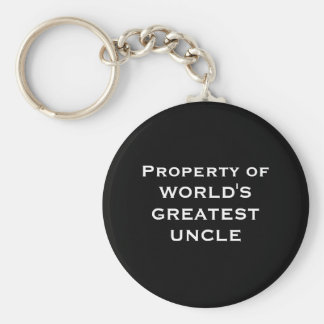 Property of WORLD'S GREATEST UNCLE Basic Round Button Key Ring
