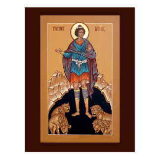 Prophet Daniel in the Lion's Den Prayer Card Postcard