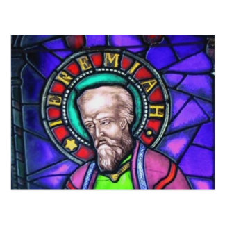 Prophet Jeremiah Stained Glass Window Postcard