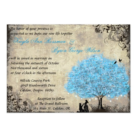 Proposal Blue Tree Vintage Wedding Invitations