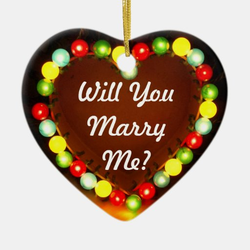 Proposal Heart Light, Will You Marry Me? Christmas Tree Ornaments