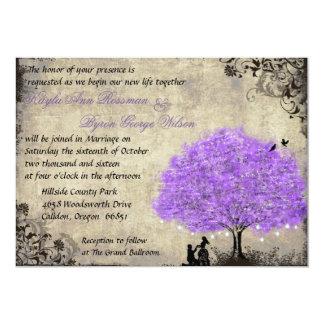 Proposal Purple Tree Vintage Wedding Invitation. Card