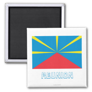 Proposed Reunion Island Flag with Name Square Magnet