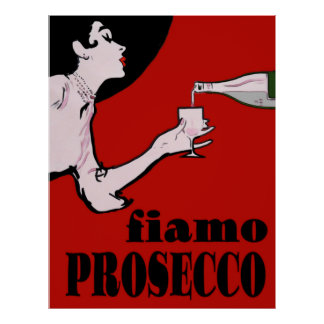 Prosecco Lady In Red Poster