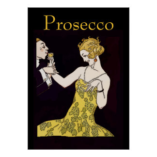 Prosecco, vintage  couple poster