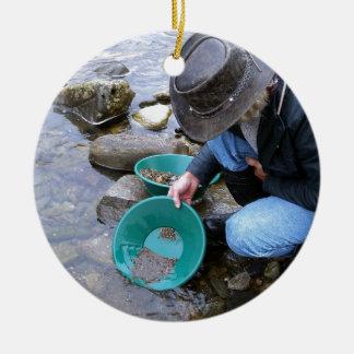 Prospectors Gold Panning Mug Round Ceramic Decoration
