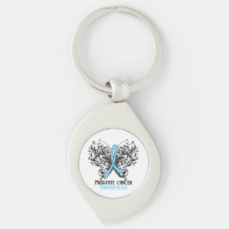 Prostate Cancer Awareness Butterfly Silver-Colored Swirl Metal Keychain