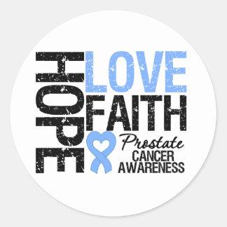 Prostate Cancer Hope Love Faith Round Sticker