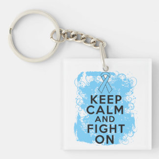 Prostate Cancer Keep Calm and Fight On Single-Sided Square Acrylic Keychain