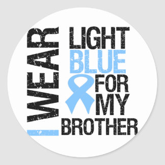 Prostate Cancer Light Blue Ribbon Brother Classic Round Sticker