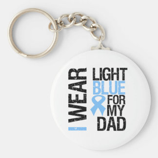 Prostate Cancer Light Blue Ribbon Dad Basic Round Button Key Ring