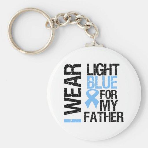 Prostate Cancer Light Blue Ribbon Father Keychain