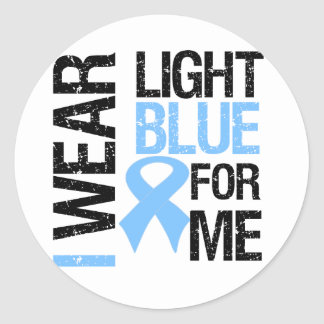 Prostate Cancer Light Blue Ribbon For Me Classic Round Sticker
