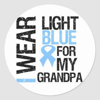 Prostate Cancer Light Blue Ribbon Grandpa Stickers