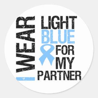Prostate Cancer Light Blue Ribbon Partner Round Sticker