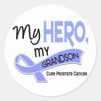 Prostate Cancer MY HERO, MY GRANDSON 42 Round Sticker