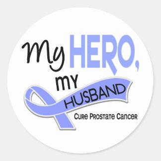 Prostate Cancer MY HERO, MY HUSBAND 42 Round Sticker