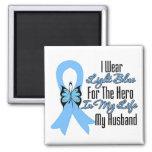 Prostate Cancer Ribbon Hero My Husband Square Magnet