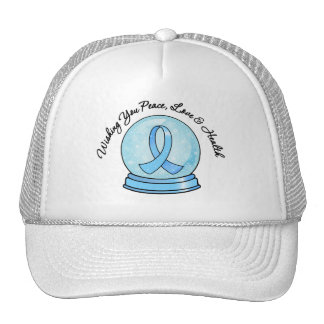 Prostate Cancer Ribbon Merry Christmas Snowglobe Mesh Hats