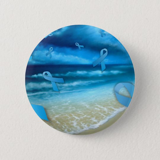 Prostate Cancer Ribbons Floaing Over the Beach 6 Cm Round Badge