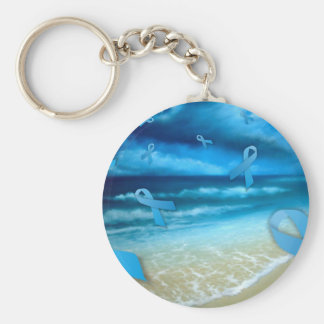 Prostate Cancer Ribbons Floaing Over the Beach Basic Round Button Key Ring
