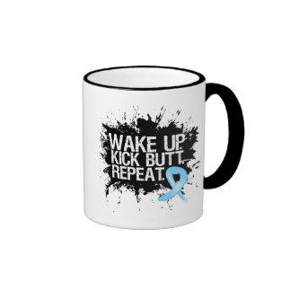 Prostate Cancer Wake Up Kick Butt Repeat Ringer Mug