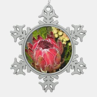 Protea Bouquet Pewter Snowflake Ornament