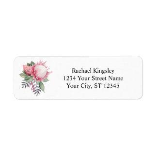 Protea Fantasy Watercolor Floral Return Address Label