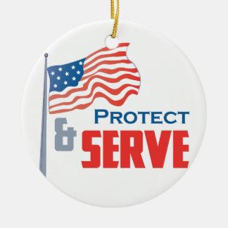 Protect and Serve Round Ceramic Decoration