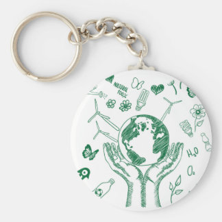 Protect environment basic round button key ring