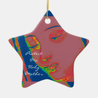 protect me holy mother ceramic star decoration